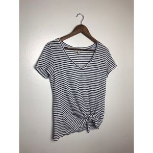 Express Black & White Strip Front Knot Top
